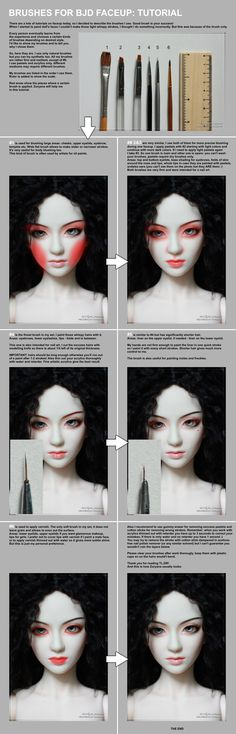 Suggested paint brushes for dolls, body blushing, and face ups covered in this tutorial by ©Scargeear .  BJD faceup painting tutorial, information.