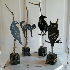 Chalkboard Black Silhouettes (with twigs) by Middleburg on Etsy.com