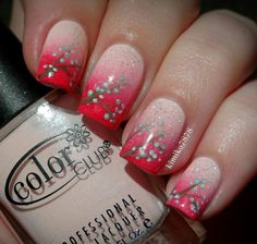 Nail art with makeup sponge. Sparkles