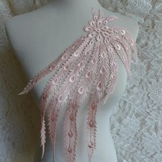 Pink Large Applique Lace for Bridal Dress, Wedding Accessory, Garments or Jewelry Design Bridal Dresses, Dress Wedding, Wedding Lace, Bridal Headpieces, Headpiece Wedding, Bridal Hair Flowers, Lace Jewelry, Freeform Crochet, French Lace