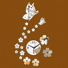 Clock Wall Decal With Flowers And Butterfly //Price: $ 11.95 & FREE shipping //  #walldecal #wallart #homedecoration
