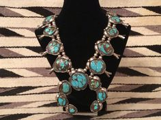 Beautiful Navajo Squash Blossom Necklace Royston Turquoise & Sterling**WOW**