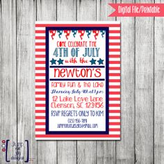 4th Of July Lake Invitation by JumpForJoyDesigns on Etsy, $15.00