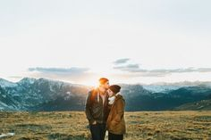 rocky mountain engagement photos - gotta love a beautiful sunset