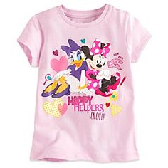 They'll always be ''on call'' for fun times wearing Minnie and Daisy's bright, sparkling tee with full color art.