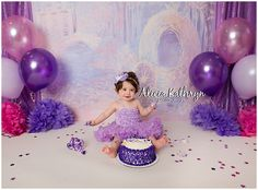 Alicia Kathryn Photo-Design, NH Newborn Photographer Pink and Purple, Cinderella 1 Year Cake Smash
