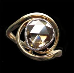 This is not contemporary - image from a gallery of vintage and/or antique objects. ART NOUVEAU  Ring  Gold Silver Diamond