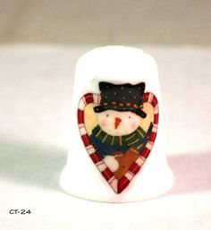 """Snowman Thimble - Collectible Thimble in Christmas theme - with Artwork by Julie Cleveland in her """"Blue Morning Expressions"""" Shop - Christmas Countdown, Christmas In July, Diy Christmas Gifts, Christmas Snowman, Christmas Themes, Handmade Christmas, Holiday Gifts, Winter Holiday, Fall Winter"""