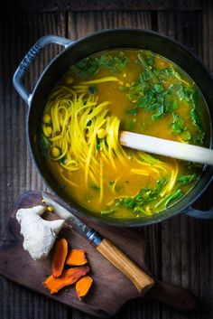 Turmeric Broth Detox Soup- A fragrant, healing broth with rice noodles, kale, chickpeas and cilantro (SKIP rice, pasta & beans. Add shredded chicken w green to broth) | Posted By: DebbieNet.com