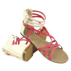 Women Flat Strappy White Snake Print Zipper Back Closure Fuchsia Sandals ** Be sure to check out this awesome product.