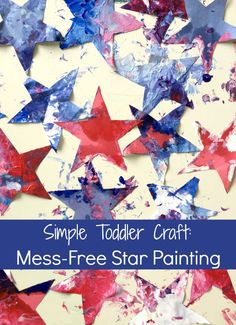 Red, white, and blue star painting! A mess-free sensory craft perfect for babies and toddlers! Creative Activities For Kids, Craft Projects For Kids, Craft Activities, Toddler Activities, Summer Activities, Art Projects, Summer Crafts, Holiday Crafts, Summer Art