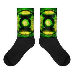These socks are extra comfortable thanks to their cushioned bottom. The foot is black with artwork printed along the leg with crisp, bold colors that won't fade. Awesome Socks, Cool Socks, Superhero Symbols, Book Stuff, Artwork Prints, Bold Colors, Comic Book, Lanterns, Green