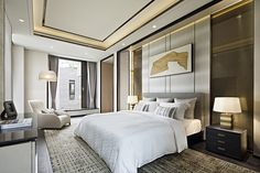 One Park Shanghai / Steve Leung Designers Ltd. Master Bedroom Interior, Home Interior, Luxury Interior, Home Bedroom, Classic Interior, Interior Designing, Hotel Room Design, False Ceiling Design, Luxurious Bedrooms