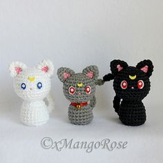 This listing is for the digital crochet pattern to create the Sailor Moon Cats - Luna, Artemis and Diana.
