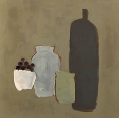 'Vases and Grapes' by British artist Netta Carey (b.1964). Oil on canvas, 31.5 x 31.5 in. via Cricket Fine Art
