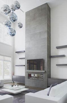 Latest Snap Shots Contemporary Fireplace shelves Style Modern fireplace designs can cover a broader category compared for their contemporary counterparts. Fireplace Shelves, Small Fireplace, Concrete Fireplace, Home Fireplace, Fireplace Remodel, Living Room With Fireplace, Fireplace Surrounds, Fireplace Ideas, Concrete Tiles