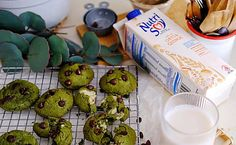 Yum Yum. Try These Matcha Choc Chip Mochi Cookies Made With NutriSoy. Recipe Fr, Glutinous Rice Flour, Salted Chocolate, Soy Milk, Hot Pot, Corn Starch, Home Recipes, Mochi, Cookie Dough
