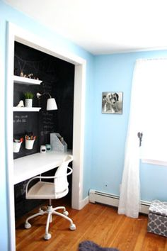 girl bedroom for study - love the black board idea