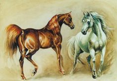 Tammen Shah and Gouche...Patrick Swayze's stallions... painted by Kamila Karst   www.kamakarst.pl