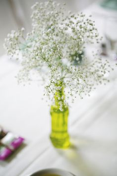 simple baby's breath wedding centerpiece in green vase / Koru Wedding Style: {Boho Chic Vermont Wedding} Starr & Sam