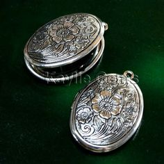Lockets Oval Cherry Blossom Flower Hand Touched by CanterburyLane, $7.00