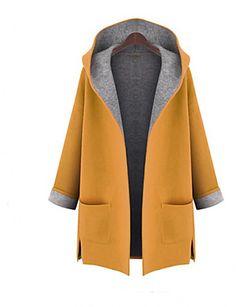Plus Size Trench Coat Femmes, Color Block capuche manches longues Automne Rouge / Laine Jaune / Autres Medium 4358705 2017 à 16,75 €