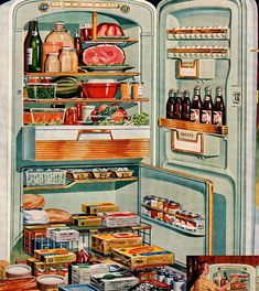 vintage turquoise refrigerator 1954 by FrenchFrouFrou on Etsy, $12.95