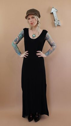BLACK & GREIGE <br> Stola Muscle Tee Maxi Dress with Slits - product images  of