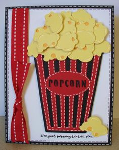 Movie invitation carousel and slumber party cartridge My idea: Use SU cupcake punch & ribbon. Popcorn papers from Michael's Cricut Birthday Cards, Cricut Cards, Movie Invitation, Invitation Cards, Invites, Deco Cinema, Cinema Party, Slumber Parties, Creative Cards