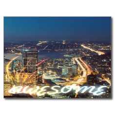 Awesome Seattle Panorama Night Post Card #postcrossing