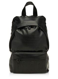 Embossed logo leather backpack | Simons #maisonsimons #MCQ #alexandermcqueen #men #backpack #leather #designers