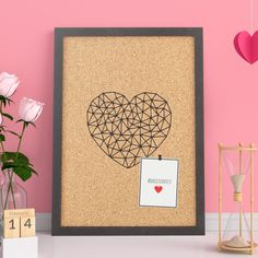 Cork Pin Board , geometric heart art, girlfriend present, birthday gift idea, valentines day decor, wall hanging letters, graphic poster print, memoboard new home, decoration print, wallart artwork, desk accessories, unique gift for her, friendship valentinesday Memo Boards, Engagement Quotes, Presents For Girlfriend, Cork Wall, Hanging Letters, Geometric Heart, Unique Gifts For Her, Heart Art, Desk Accessories