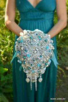 Deposit on cascading teal and tiffany pearl brooch bouquet -- made to order  bridal bouquet. $362.50, via Etsy.