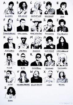 O alfabeto do rock (com umas pitadas de reggae, soul, pop, etc) criado pela ilustradora Rose Stallard apresenta um beabá do mundo da música através de alguns expoentes do movimento. E você, quais í…