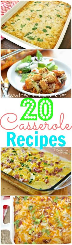 20 *Must-Have* Casserole Recipes from The Country Cook and Life in the Lofthouse. Chicken Enchilada Bake, Taco Casserole, Chicken Parmesan Casserole and more!! This list is a keeper!