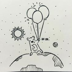 provocative-planet-pics-please.tumblr.com Bear thought he could fly to the moon with his balloons Doodles in Astronomy 4 #art #illustration #traditional #micron #pen #astronomy #ink #cute #funny #bear #balloon #moon #fly #illustrator #space #earth #universe #galaxy #stars #planets #doodle #moleskine #artists #astronomy by mayyenlee https://www.instagram.com/p/BD4xJKOmyj6/