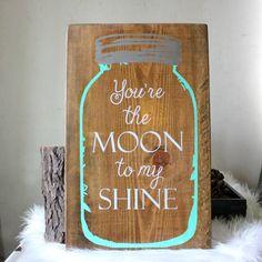 Mason Jar Wood Sign- Moonshine Jar Sign- Rustic Wood Sign- Mason Jar Home Decor- Kitchen Decor- Rustic Home Decor- Mason Jar Home Decor