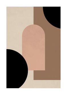 Graphic poster with an abstract motif in earthy tones. The symmetrical forms and solid colors create a sense of art deco in a modern style. The print has a built-in white passe-partout and fits perfectly with its twin Geometric Forms Poster. Art And Illustration, Abstract Shapes, Geometric Shapes, Abstract Art, Canvas Wall Art, Wall Art Prints, Minimal Art, Posca Art, Graphic