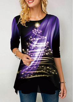 New Arrival | Liligal.com Trendy Tops For Women, Festival Tops, Purple Fashion, Fashion Prints, Tshirt Colors, Shirt Style, Casual Outfits, Clothes For Women, Womens Fashion