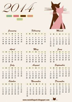 FREE printable 2014 calendar with cat art - free download