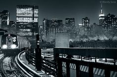 Photographing New York City: The Q train aproaching Queens B. Plaza, coming fro...