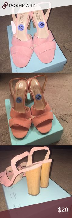 Women's shoes Peach colored suede sandals Talbots Shoes Heels