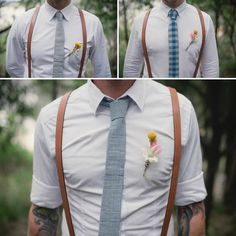 If my fiance were to insist we have a wedding party, I'd want simple outfits like these for the groomsmen. Their gift from the groom would be fancy suspenders.