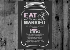 Mason Jar Eat Drink and Be Married Save the Date Photo  Printable Invitation on Etsy, $12.00