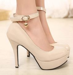 All-match Fashion Round Waterproof Leather Leisure High Heel Women Platform