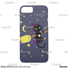 Flying Witch Cat iPhone 7 Case #cats #pets #blackcat #witch #halloween