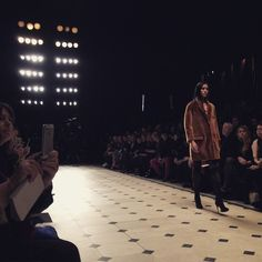 Velvet shearling outerwear - live from the #Burberry A/W15 runway #LFW