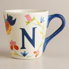 """Crafted of earthenware with a monogram letter """"N,"""" our exclusive mug features bright artwork that makes it a cheerful personalized gift for a friend - or for Alphabet Letters Design, Alphabet Images, Alphabet Art, Alphabet And Numbers, Letter Art, Monogram Letters, Flower Letters, Name Wallpaper, Cute Wallpaper For Phone"""