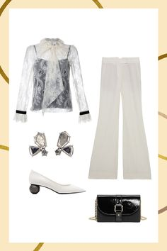 5 Party Looks That Don't Include Sequins #refinery29  http://www.refinery29.com/best-holiday-party-trends-winter-2016#slide-3  Frosty MonochromeWe hereby declare the no-white-after-Labor-Day rule dead. Channel ice queen vibes with a sheer lace blouse, wide-legged trousers, statement heels, and flashy earrings....