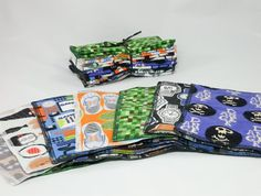 """Soft Flannel Reusable 8""""x8"""" Baby Wipes, Nerdy Prints, One Dozen Eco-Friendly Wash Cloths, Soft Flannel Wipes, Two-Ply Reusable Diaper Wipes"""